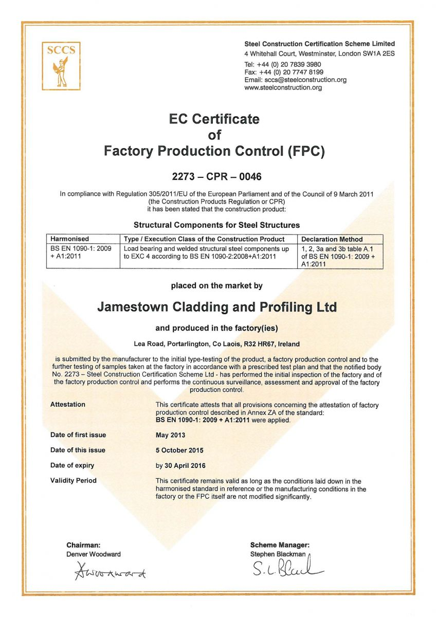 EC 0046 Certificate - Jamestown Manufacturing - Ireland