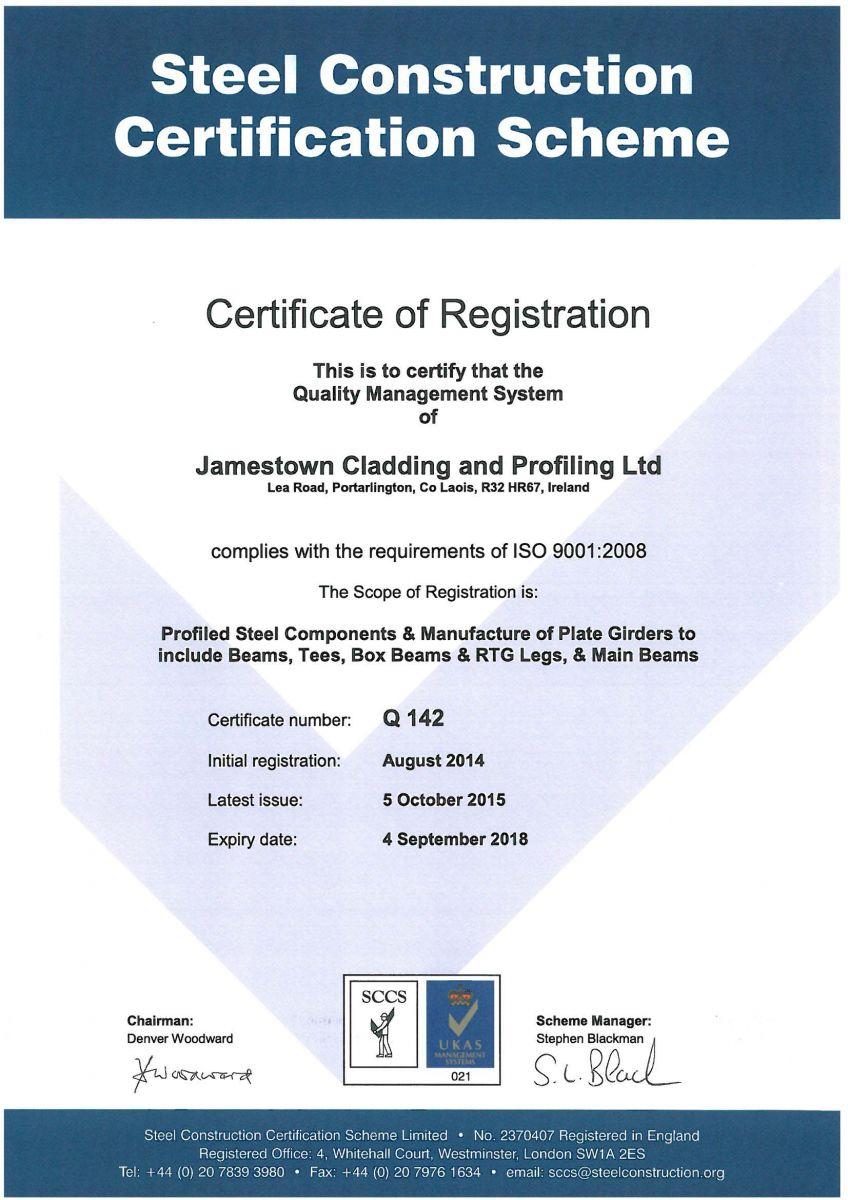 QMS 142 Certificate - Jamestown Manufacturing - Ireland