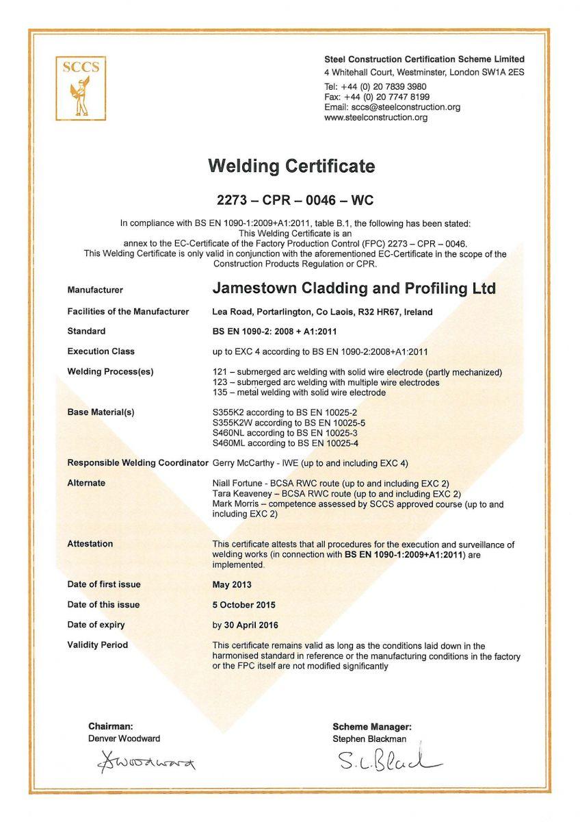 Weld 0046 Certificate - Jamestown Manufacturing - Ireland